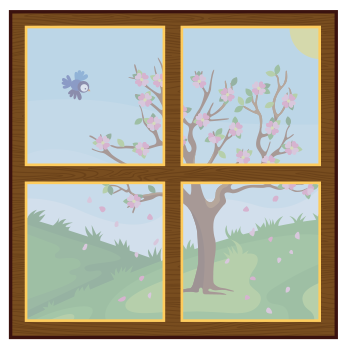image of window with changing seasons